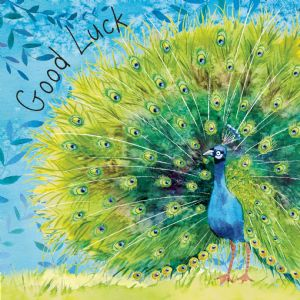 FIZ72  Peacock Good Luck Card